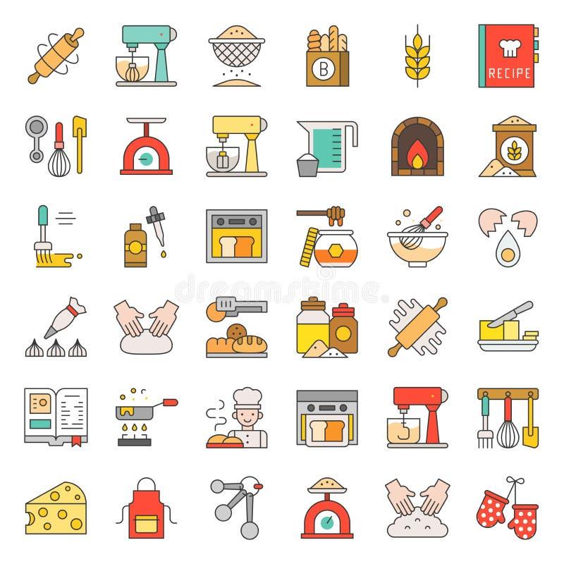 Bagerit och bakelse shoppar den släkta plana designsymbolen ställde in den redigerbara stren stock illustrationer