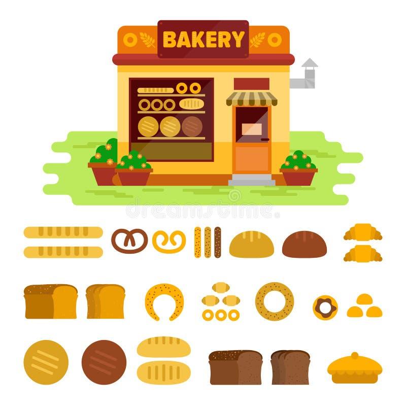 Bagerit shoppar på gatan med brödsymbolsuppsättningen, illustration för bakelsevektorlägenhet Bullen släntrar, panerar, gifflet,  royaltyfri illustrationer