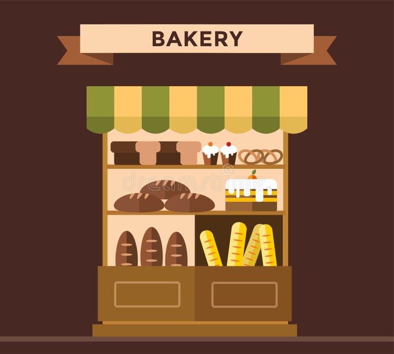 Bagerit shoppar stallen med bageriprodukter royaltyfri illustrationer