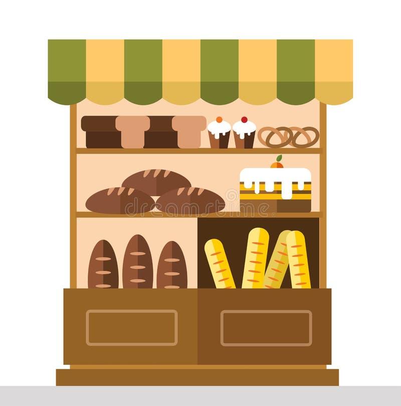 Bagerit shoppar stallen med bageriprodukter vektor illustrationer