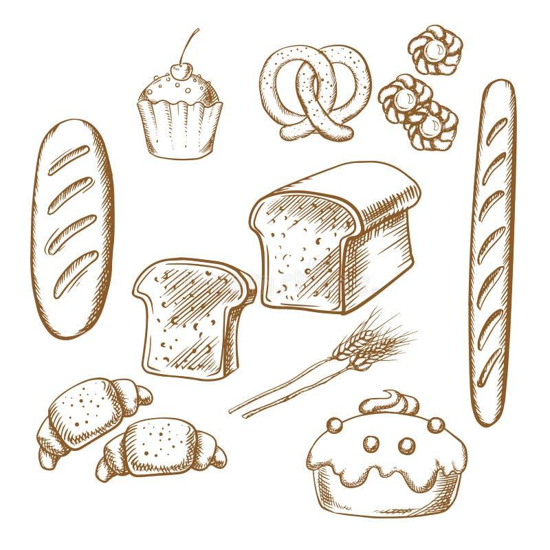 Bagerit skissar symboler med bröd och bakelse stock illustrationer