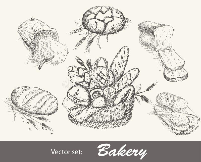 Bageriuppsättning vektor illustrationer