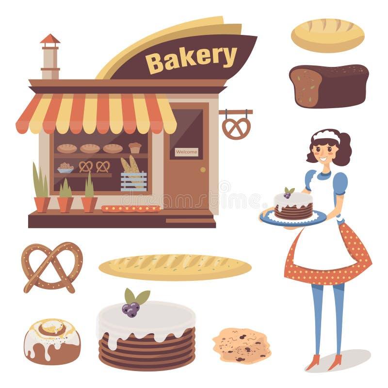 Bageriuppsättning med bakelselagerbyggnad, bakat gods, flickabagaren eller servitristeckenet Plan mat för tecknad film Isolerad v royaltyfri illustrationer