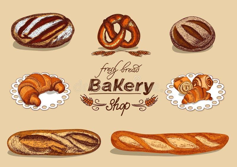 Bageriuppsättning med bröd royaltyfri illustrationer