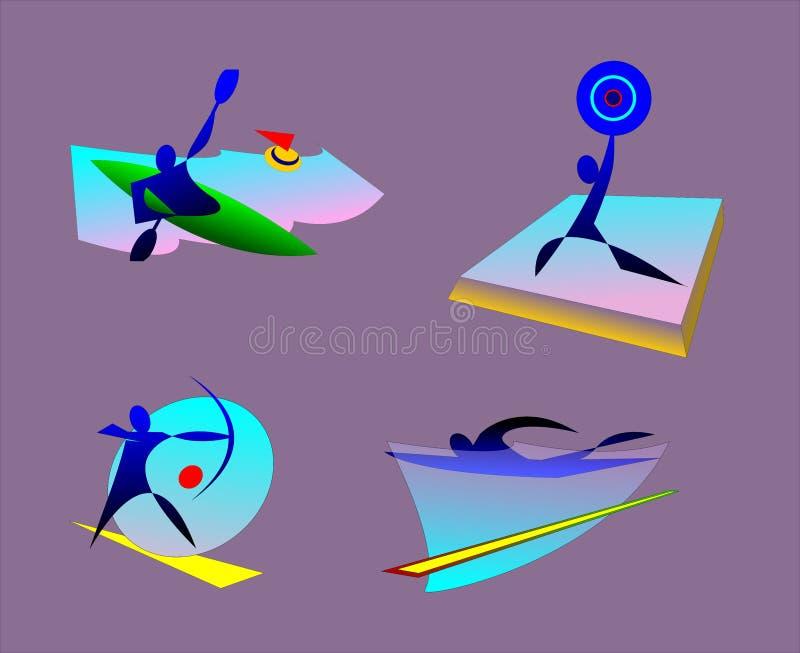 bages de los deportes olímpicos del verano el kayaking, levantamiento de pesas, natación, tiro al arco ilustración del vector