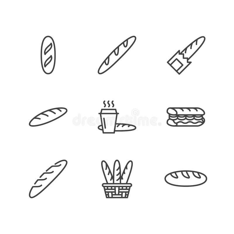 Bagett matlägenhetlinje symboler Panera huset, fransman släntrar i korgvektorillustrationen, bageriprodukter undertecknar royaltyfri illustrationer