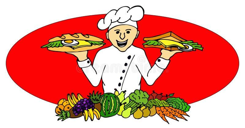 bagettkocksmörgås stock illustrationer