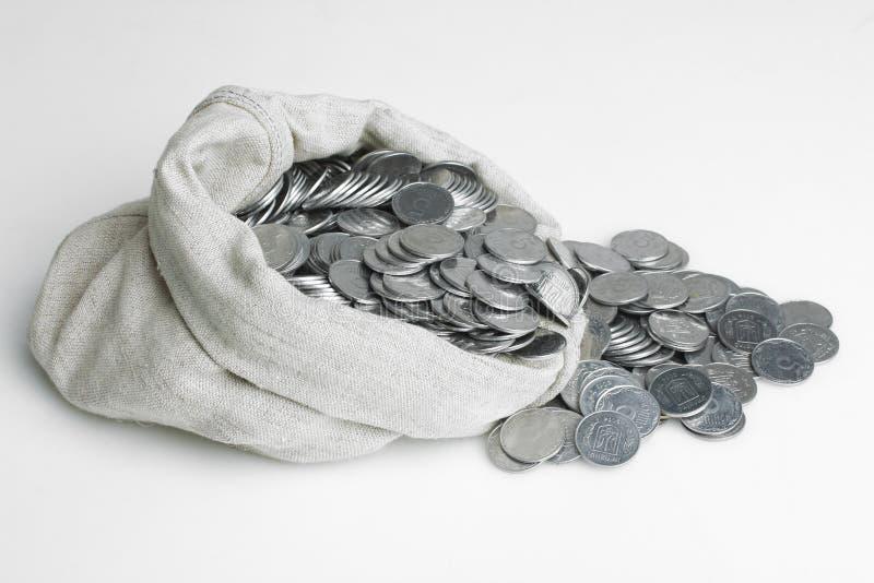 Bagful con el dinero imagen de archivo
