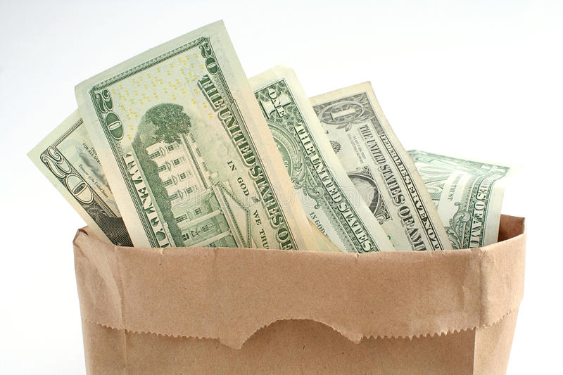 bagful pieniądze zdjęcia royalty free