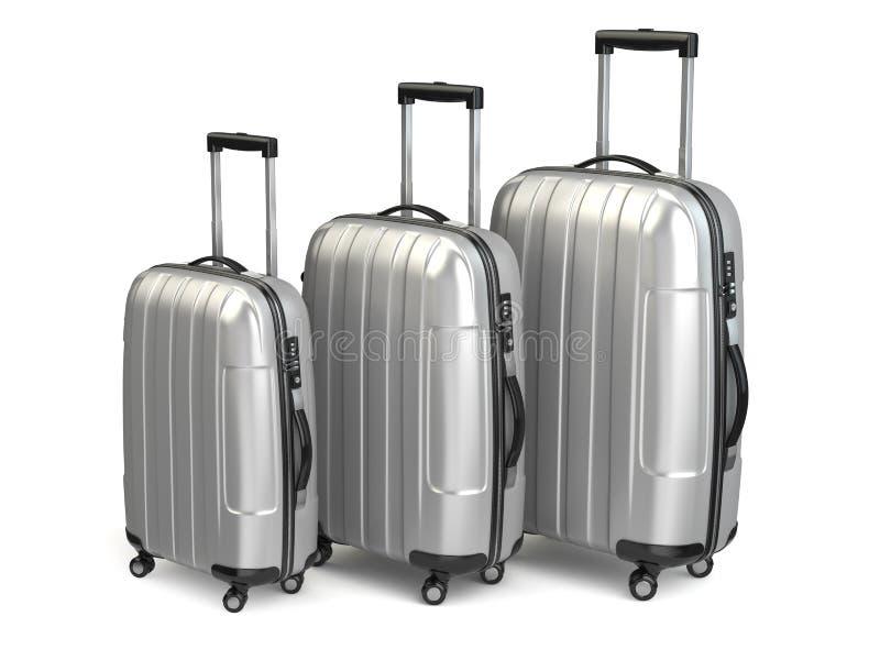 Baggage. Aluminium suitcases on white background. 3d royalty free illustration
