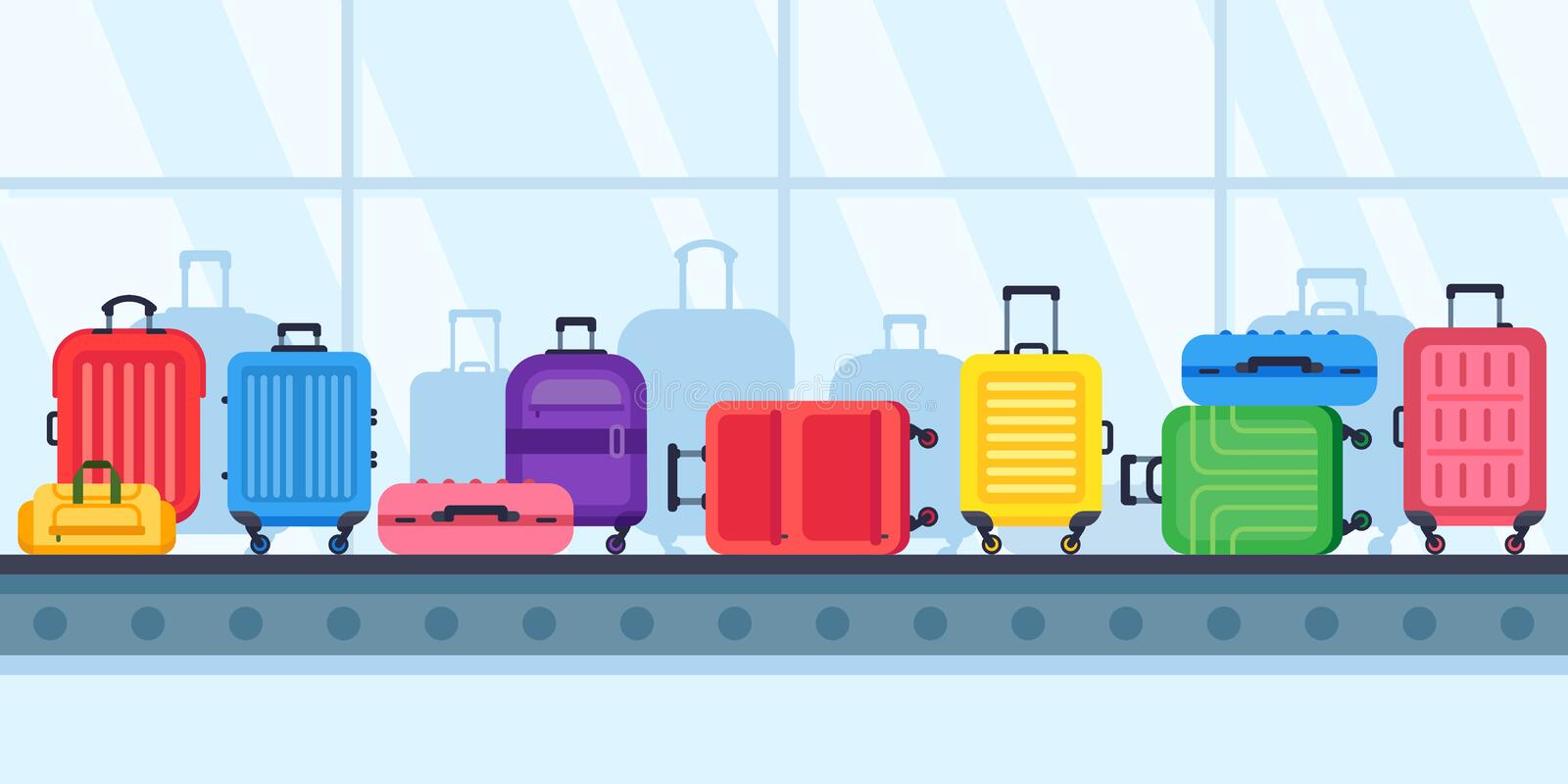 Baggage belt conveyor. Travel suitcases on airport luggage carousel, airline lost suitcase vector illustration vector illustration