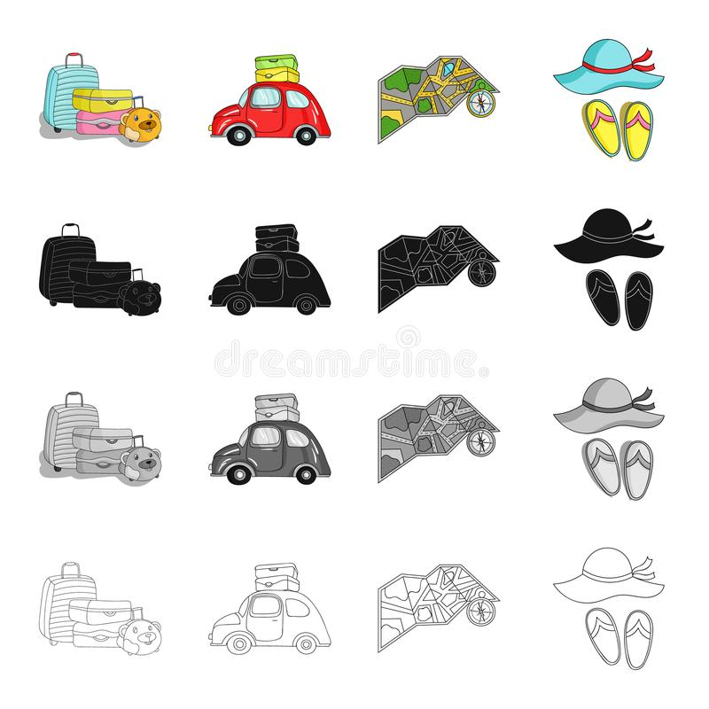Baggage, a car with things, a map and a compass, a hat and slippers. Family holiday set collection icons in cartoon stock illustration