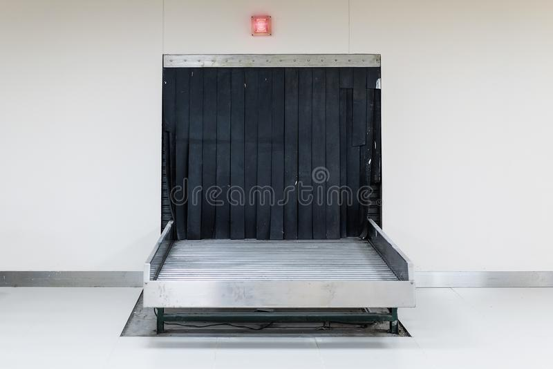Baggage conveyor belt. At the airport stock image