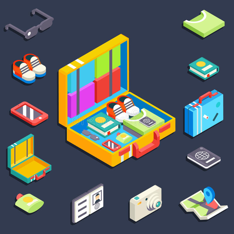 Baggage items accessories summer travel vacation. Trip isometric vector illustration royalty free illustration