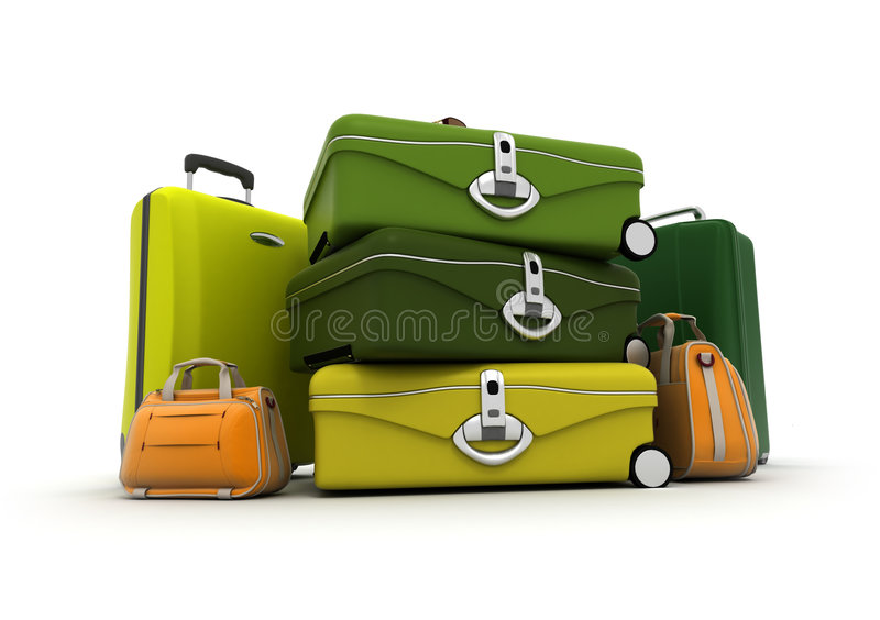 Download Baggage Set In Green And Acid Colours Stock Illustration - Image: 5351738