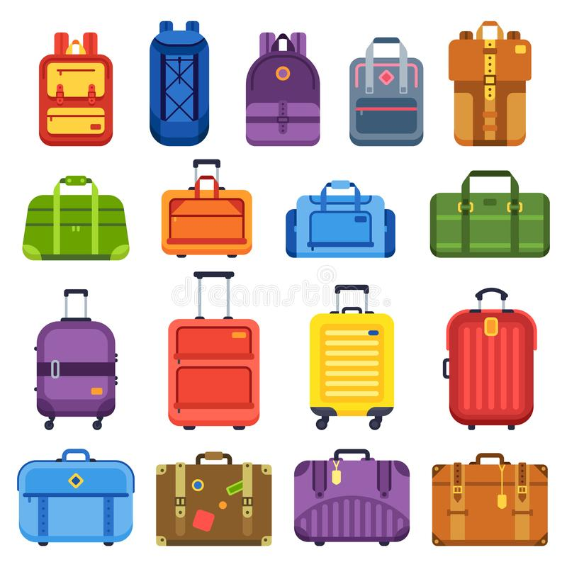 Baggage suitcase. Handle travel bag, luggage backpack and business suitcases isolated flat vector set. Baggage suitcase. Handle travel bag, luggage vacation stock illustration