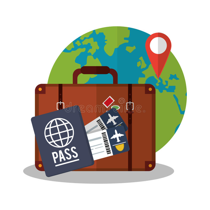 Baggage of travel and tourism concept. Baggage and passport icon. travel trip vacation and tourism theme. Colorful design. Vector illustration vector illustration
