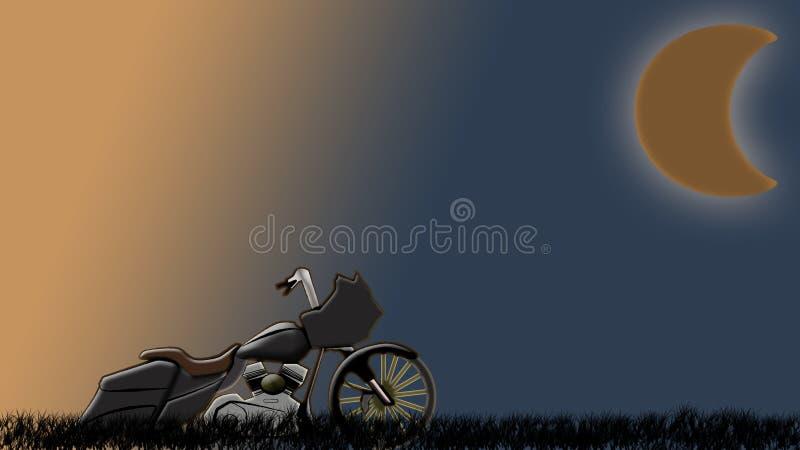 Bagger fait sur commande de couperet sur la route avec les cieux au coucher du soleil illustration stock