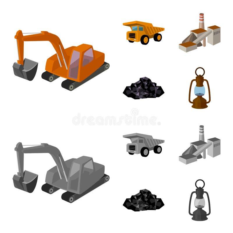 Bagger, Kipper, Verarbeitungsanlage, Mineralien und Erz Gesetzte Sammlungsikonen der Minenindustrie in der Karikatur, einfarbige  lizenzfreie abbildung