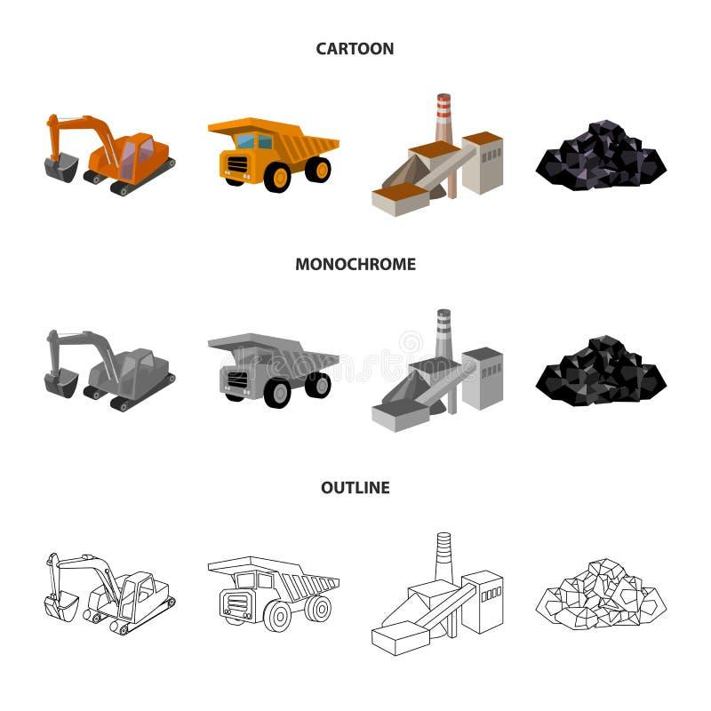 Bagger, Kipper, Verarbeitungsanlage, Mineralien und Erz Gesetzte Sammlungsikonen der Minenindustrie in der Karikatur, Entwurf, ei stock abbildung