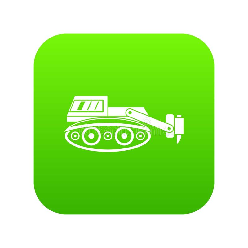 Bagger mit digitalem Grün der hydraulischen Hammerikone stock abbildung