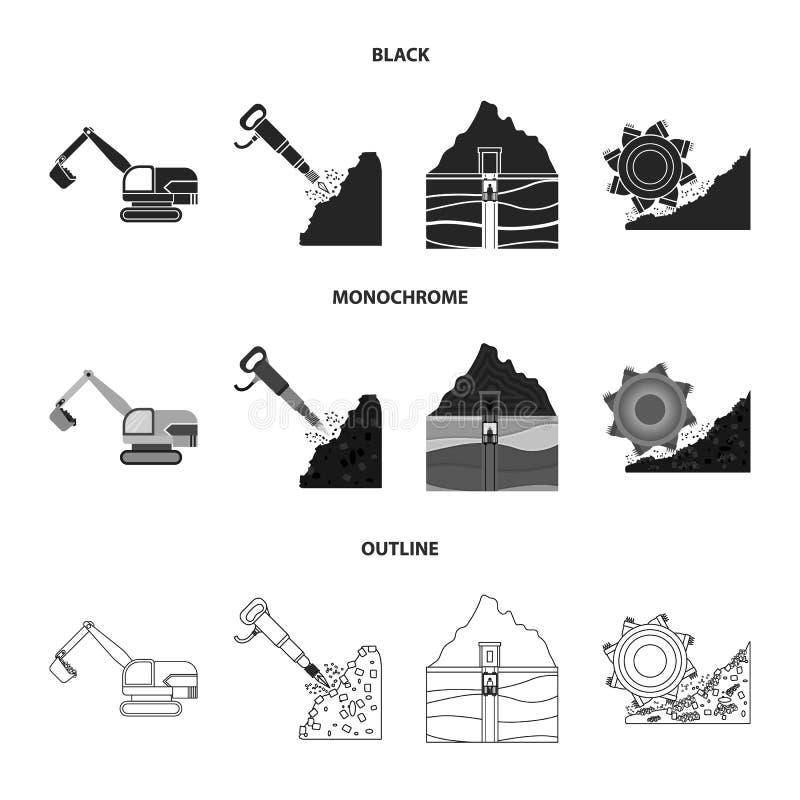 Bagger, Tunnel, Aufzug, Kohlenerntemaschine und andere Ausrüstung Gesetzte Sammlungsikonen des Bergwerkes in Schwarzem, einfarbig stock abbildung