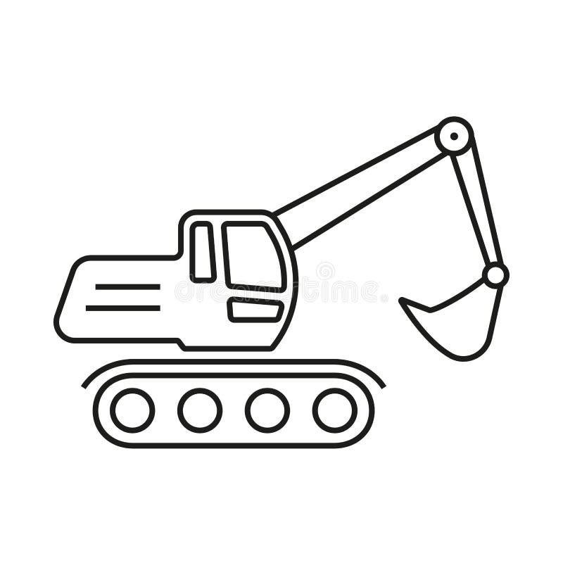 Baggerentwurfsikone Baggersymbol Auch im corel abgehobenen Betrag lizenzfreie abbildung