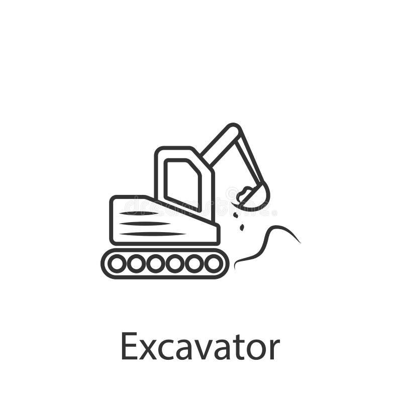 Baggerikone Einfache Elementillustration Baggersymboldesign vom Bausammlungssatz Kann im Netz und im mobi verwendet werden stock abbildung