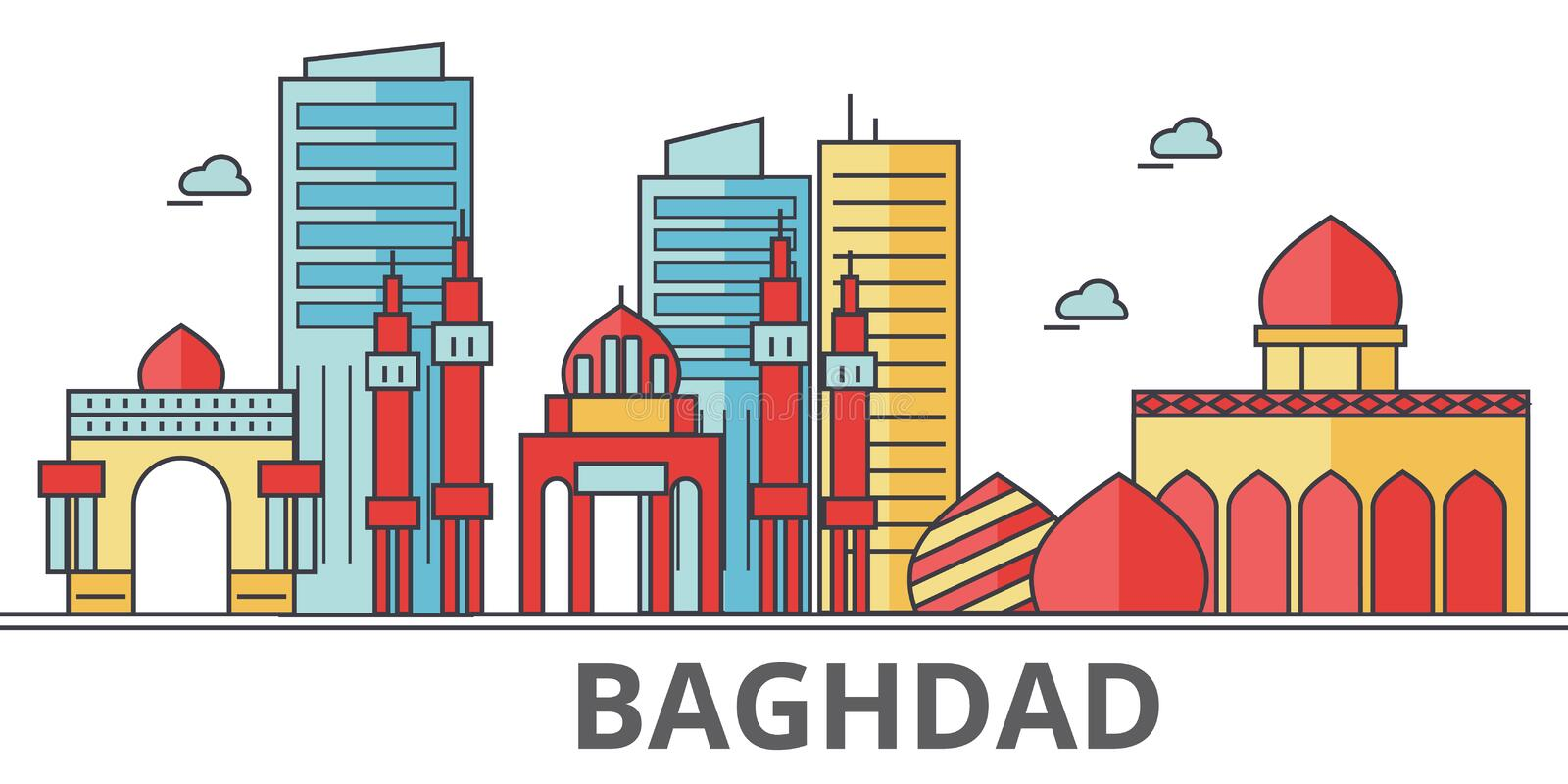 Baghdad city skyline. Buildings, streets, silhouette, architecture, landscape, panorama, landmarks. Editable strokes. Flat design line vector illustration royalty free illustration