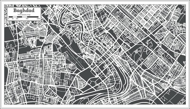 baghdad iraq city map in retro style vector illustration outline map