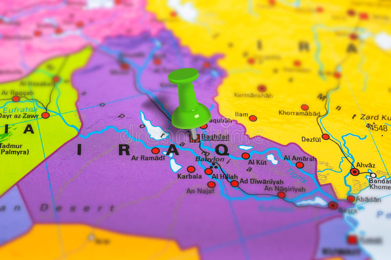 baghdad in iraq pinned on colorful political map of europe geopolitical school atlas tilt shift effect