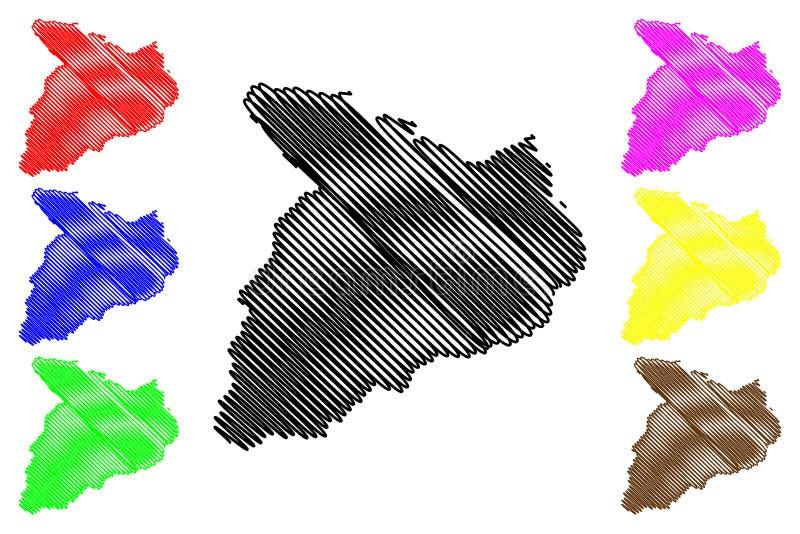 Baghlan-Provinz-islamische Republik von Afghanistan, Provinzen der Afghanistan-Kartenvektorillustration, Gekritzelskizze Baghlan- vektor abbildung