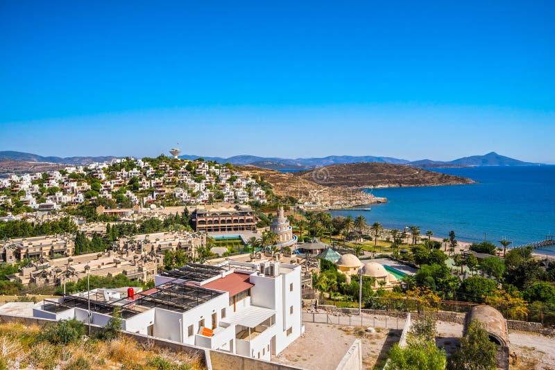 Bagia海滩,博德鲁姆,土耳其 免版税图库摄影