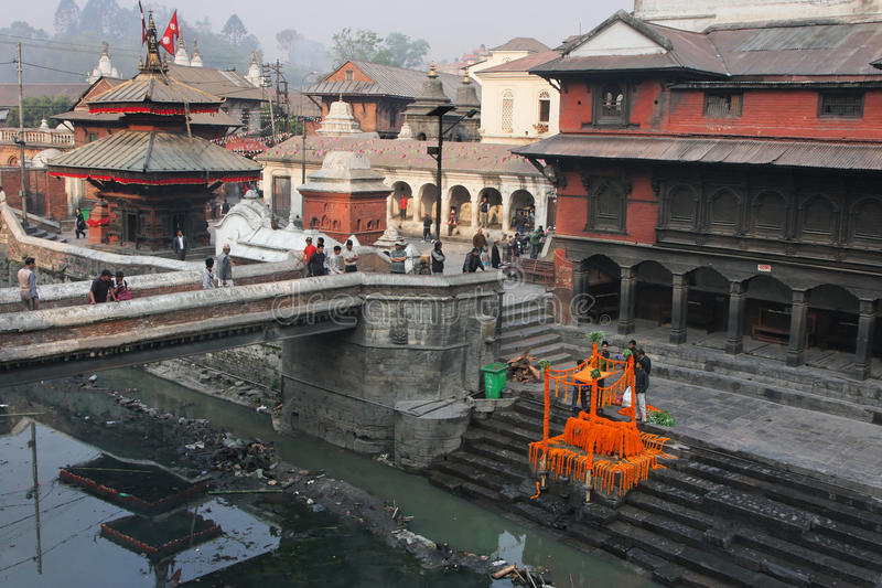 Bagmati river and rituals in Pashupatinath temple stock photography