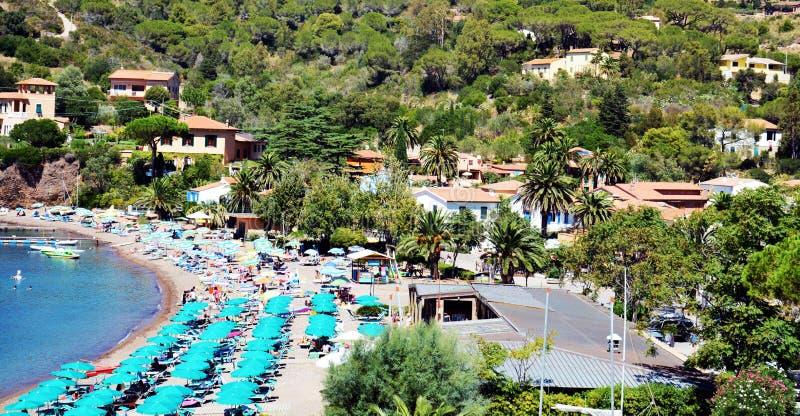 Bagnaia, opinión panorámica de Portoferraio, paraguas, Elba Island fotos de archivo libres de regalías