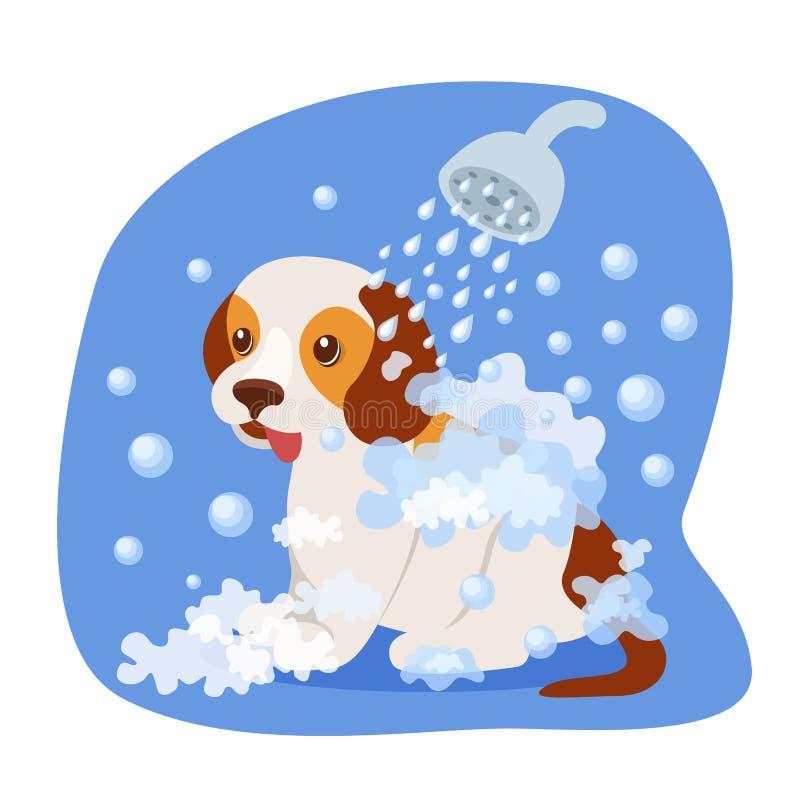 Bagnando cucciolo nella doccia, con acqua insaponata, sanità, aspetto illustrazione vettoriale