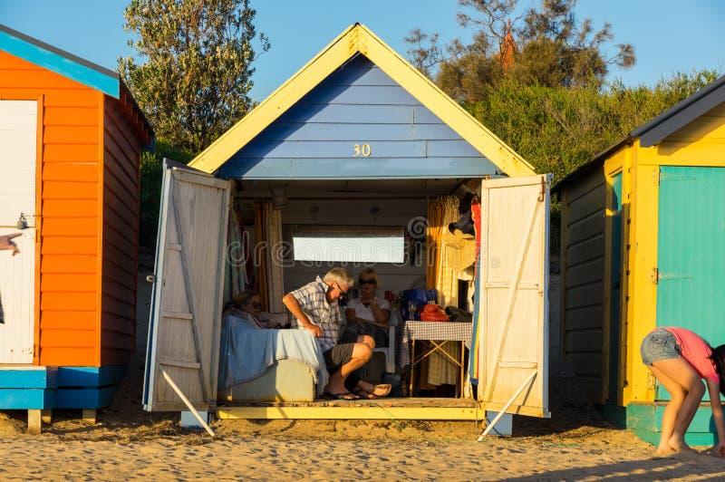 Bagnando le scatole su Brighton Beach a Melbourne interna, l'Australia fotografia stock libera da diritti