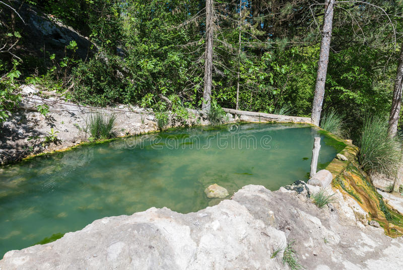 Bagni圣菲利波,托斯卡纳 热量天然泉 免版税图库摄影