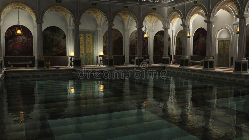 Bagni romani alla notte illustrazione di stock