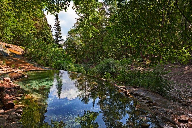 Bagni San Filippo, Siena, Tuscany, Italien: naturlig termisk pöl I arkivfoton