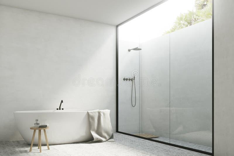 Bagno bianco con una vasca, angolo illustrazione vettoriale