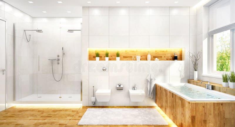 Bagno bianco di lusso in casa moderna immagini stock libere da diritti