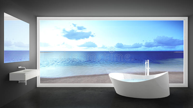 Bagno bianco e grigio minimalista con la grande finestra panoramica, Unione Sovietica fotografia stock