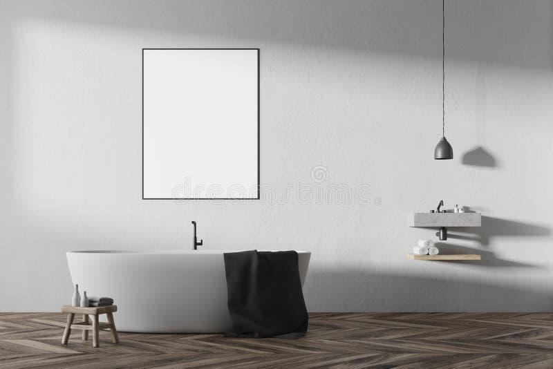 Bagno bianco interno, vasca rotonda, manifesto illustrazione vettoriale