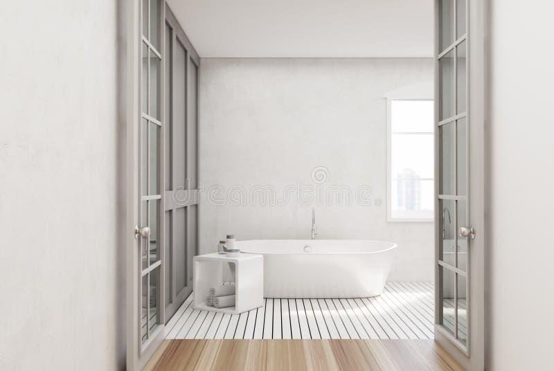 Bagno bianco, vasca bianca illustrazione vettoriale