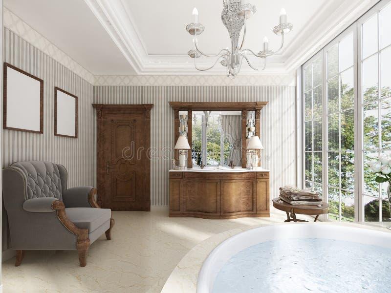 Bagno classico con la mobilia di lusso del bagno e un cha del salotto illustrazione vettoriale