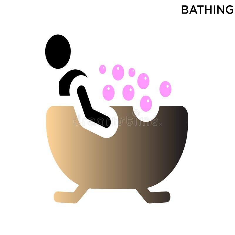 Bagno del fondo bianco dell'icona degli uomini royalty illustrazione gratis