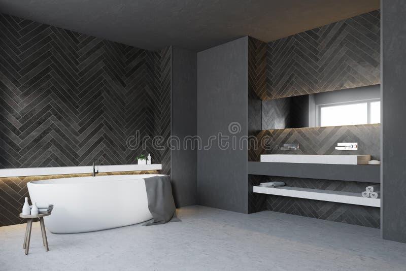 Bagno di legno nero, lato rotondo della vasca royalty illustrazione gratis