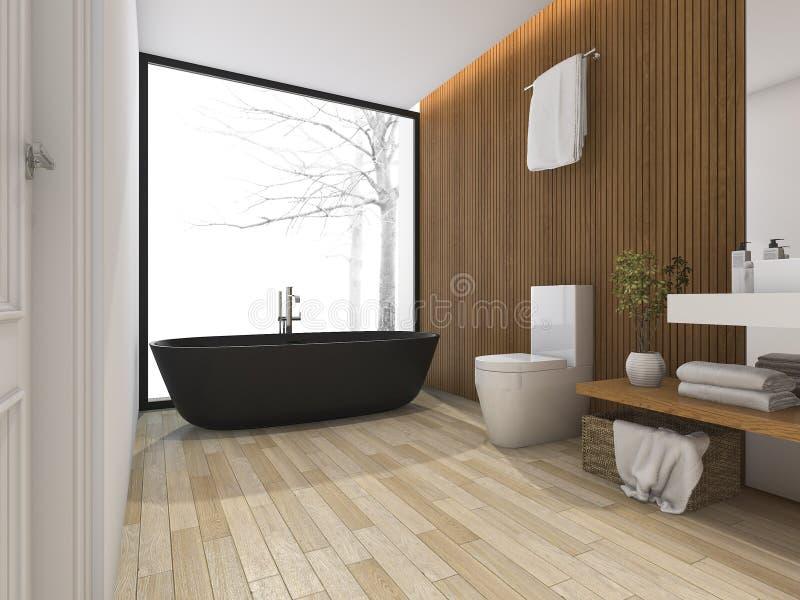 bagno di lusso della rappresentazione 3d vicino alla finestra con la vasca royalty illustrazione gratis