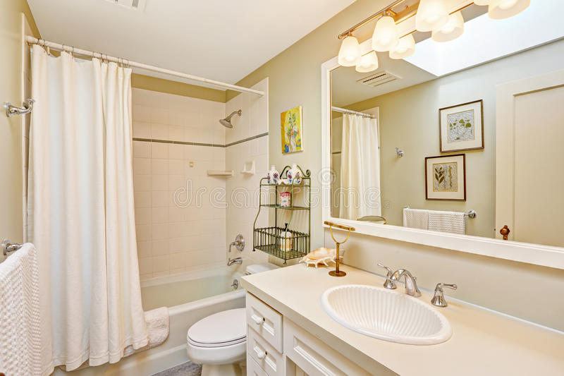 Bagno di rinfresco bianco con il gabinetto e lo specchio fotografia stock
